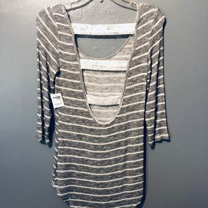 NWT Charlotte Russe striped lace back top